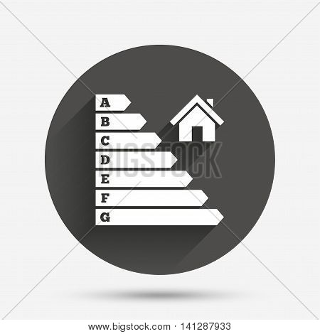 Energy efficiency icon. Electricity consumption symbol. House building sign. Circle flat button with shadow. Vector