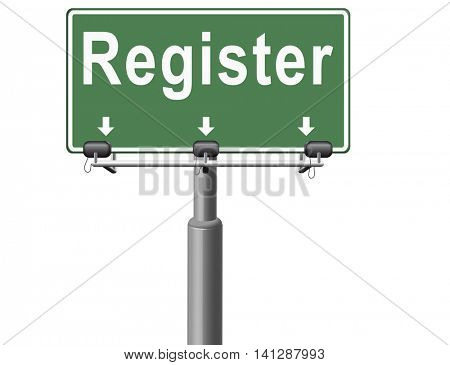 register now member registration road sign membership billboard 3D illustration