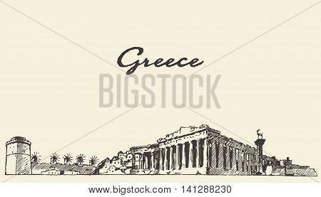 Greece skyline vintage engraved illustration hand drawn sketch