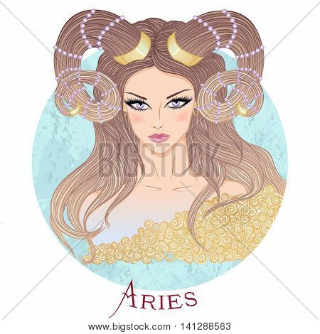 Zodiac. Vector illustration of the astrological sign of Aries as a beautiful girl with long hair. Round shape