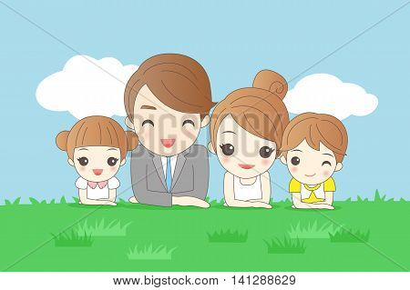 cartoon family is smiling happily and lie on the grass