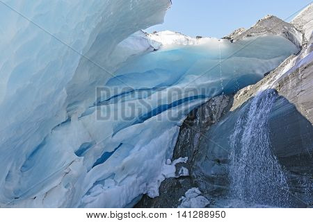 Under the Glacial Ice of the Worthington Glacier in Alaska