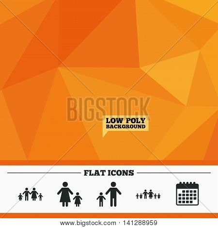 Triangular low poly orange background. Large family with children icon. Parents and kids symbols. One-parent family signs. Mother and father divorce. Calendar flat icon. Vector