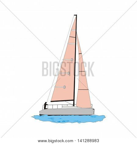 Illustration of a sailing yacht with pink sails isolated on white background