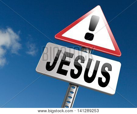 Jesus leading way to the lord faith in savior worship christ spirit search belief in prayer christian Christianity, road sign billboard. 3D illustration