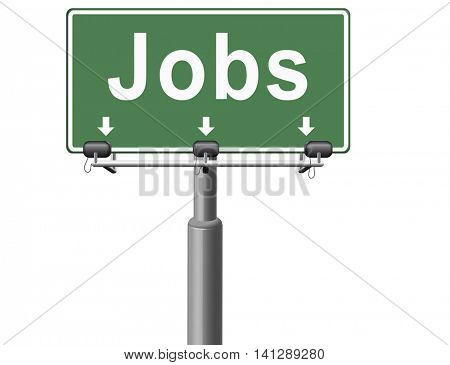 job search vacancy jobs online application help wanted hiring now ad advert advertising road sign billboard 3D illustration