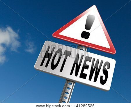 latest hot and breaking news items 3D illustration