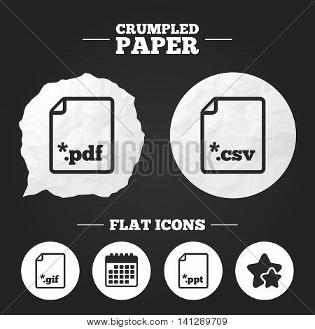 Crumpled paper speech bubble. Download document icons. File extensions symbols. PDF, GIF, CSV and PPT presentation signs. Paper button. Vector