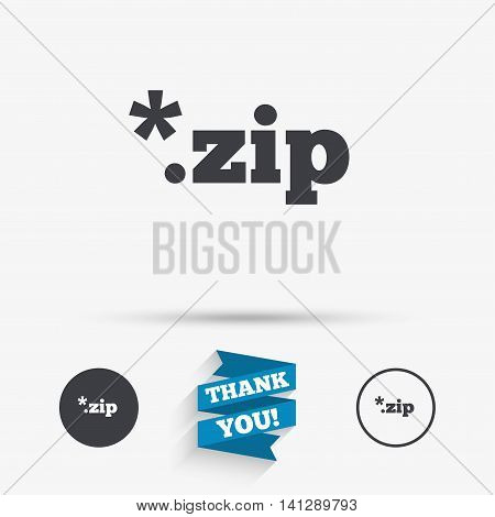 Archive file icon. Download compressed file button. ZIP zipped file extension symbol. Flat icons. Buttons with icons. Thank you ribbon. Vector