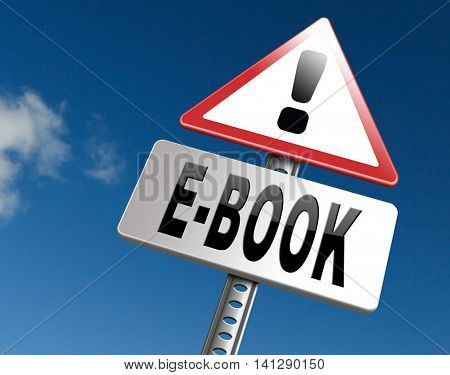 Ebook downloading and read online electronic book or e-book download, road sign  3D illustrationbillboard.