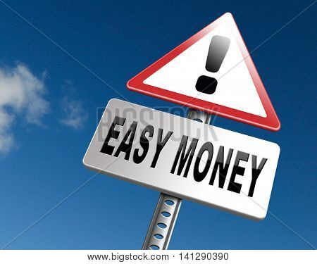 Fast easy money quick extra cash make a fortune online income  3D illustration