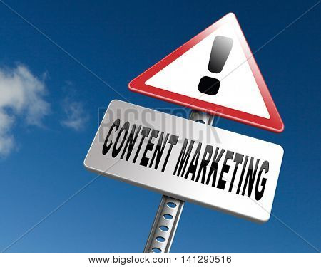content marketing, a market strategy for advertising and product placement 3D illustration