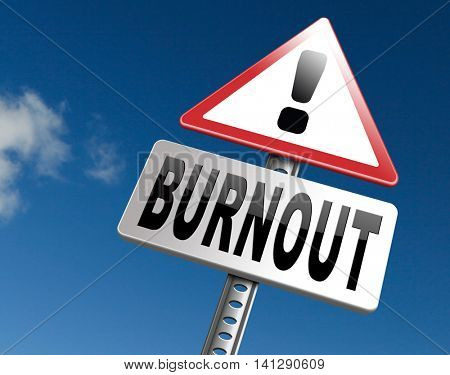Burnout or psychological work stress. Occupational burn out or job demotivation, exhaustion, lack of enthusiasm and motivation, ineffectiveness and demotivated. 3D illustration