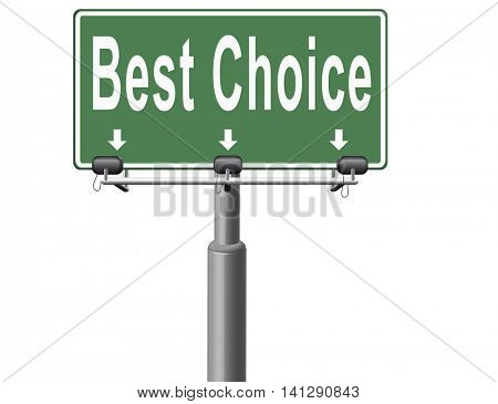 best choice top quality label best sign best product comparison billboard with text and word concept 3D illustration