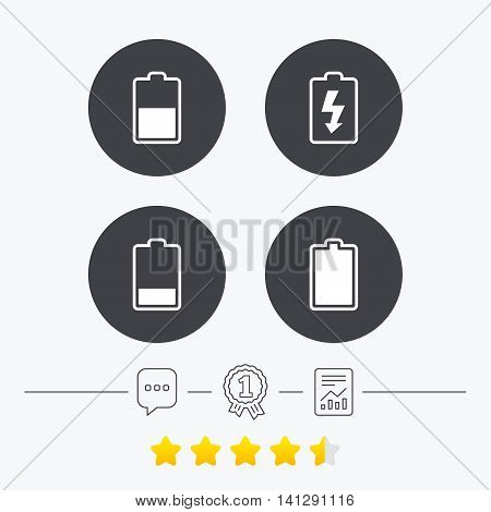 Battery charging icons. Electricity signs symbols. Charge levels: full, half and low. Chat, award medal and report linear icons. Star vote ranking. Vector
