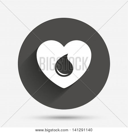 Blood donation sign icon. Medical donation. Heart with blood drop. Circle flat button with shadow. Vector