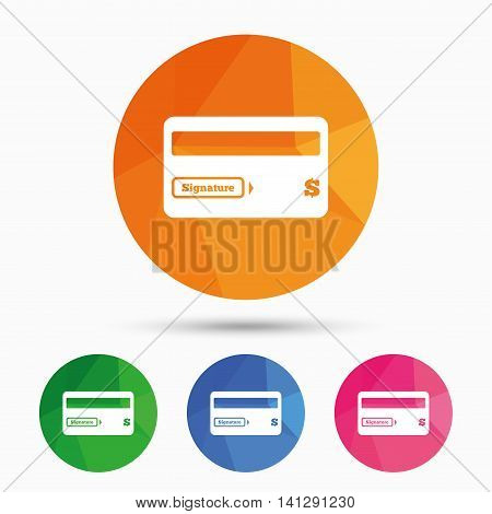 Credit card sign icon. Debit card symbol. Virtual money. Triangular low poly button with flat icon. Vector