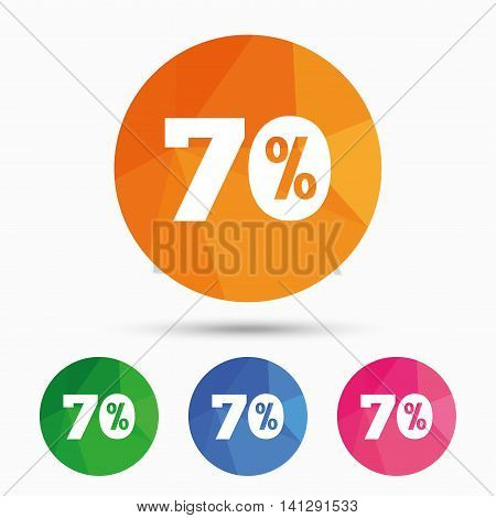70 percent discount sign icon. Sale symbol. Special offer label. Triangular low poly button with flat icon. Vector