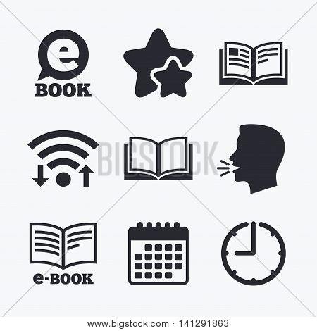 Electronic book icons. E-Book symbols. Speech bubble sign. Wifi internet, favorite stars, calendar and clock. Talking head. Vector