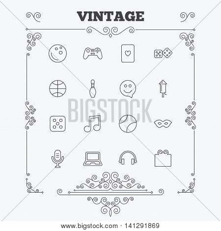 Entertainment icons. Game console joystick, notebook and microphone symbols. Poker playing card, dice and mask thin outline signs. Musical note and smile in speech bubble. Vintage ornament patterns. Decoration design elements. Vector