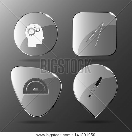 4 images: human brain, caliper, protractor, ink pen. Education set. Glass buttons. Vector illustration icon.