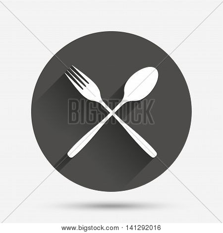 Eat sign icon. Cutlery symbol. Fork and spoon crosswise. Circle flat button with shadow. Vector