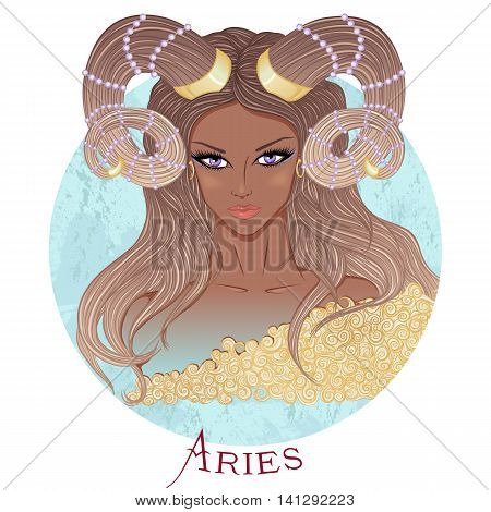 Zodiac. Vector illustration of the astrological sign of Aries as a beautiful african american girl with long hair. Round shape