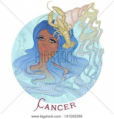 Zodiac. Vector illustration of the astrological sign of Cancer as a beautiful african american girl with long hair. Round shape