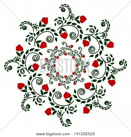 Pattern plants garnet in color ethnic style embroidery drawing on cookware or vase holiday or other
