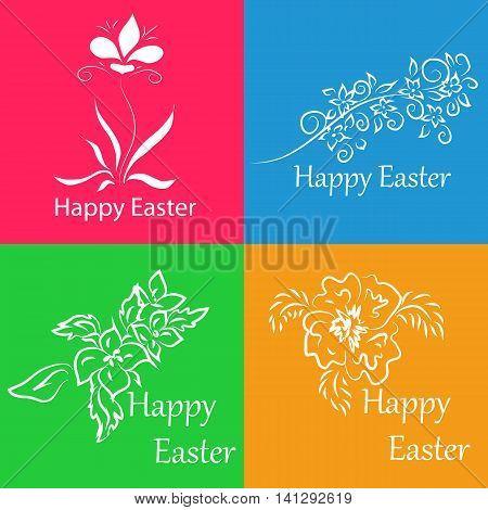 Set pictures or stickers for congratulation on Easter. It can be used as a mini-card or accompanying card to the main gift