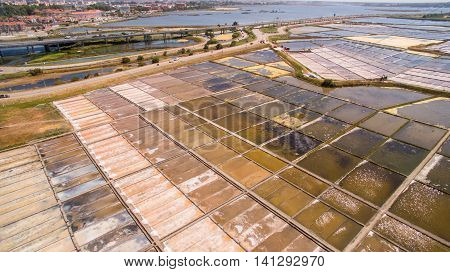 Historical salt pans in Aveiro, Portugal aerial view