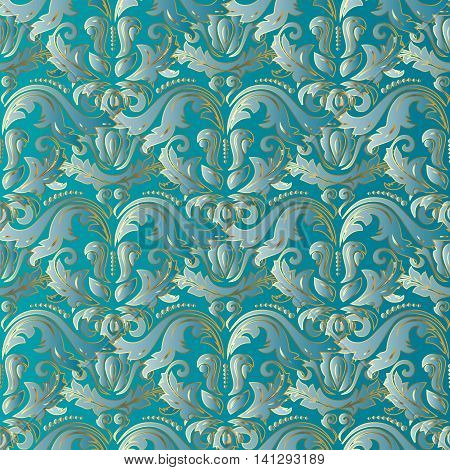 Elegant light blue turquoise damask vintage seamless pattern background  with oriental volumetric ornaments and gold outline. Luxury 3d decor with shadow and highlights