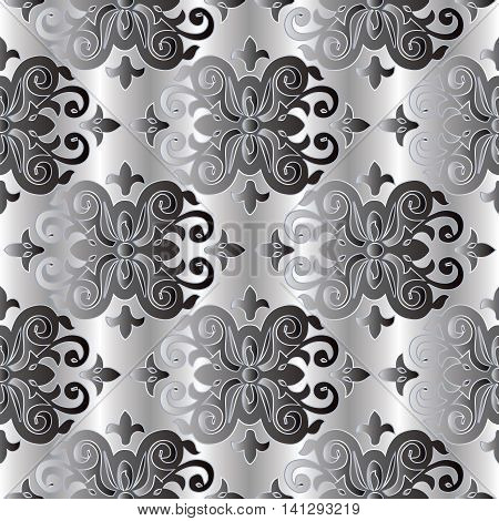 Grey damask vintage seamless pattern background  with elegant oriental volumetric ornaments and silver outline. Luxury element for design in Eastern style. 3d decor with shadow and highlights
