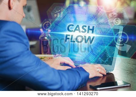 Business, Technology, Internet And Networking Concept. Young Businessman Working On His Laptop Of Th