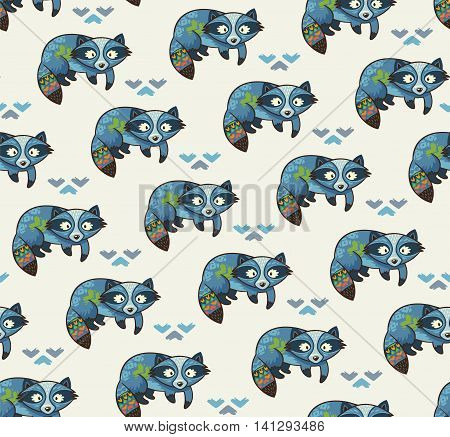 Cute cartoon background with indian raccoons. Design for fabric and decor. Vector illustration