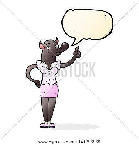 cartoon werewolf woman with idea with speech bubble