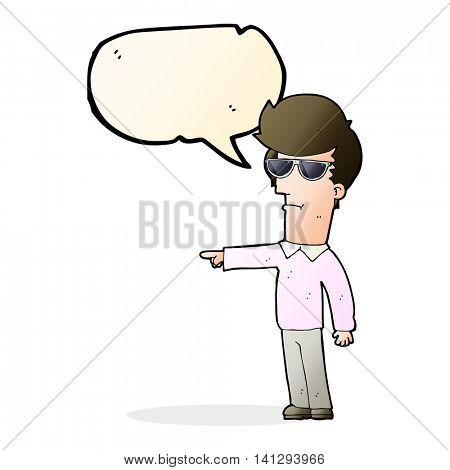 cartoon man in glasses pointing with speech bubble