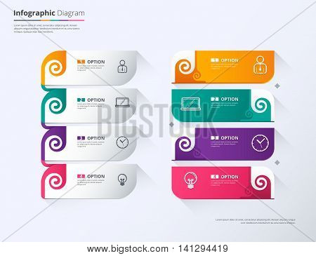 Label Infographic Design, Twirl Tag Label Template. Vector Stock.