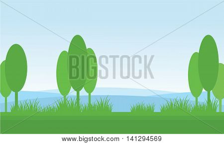 Nature scenery tree in fields vector illustration