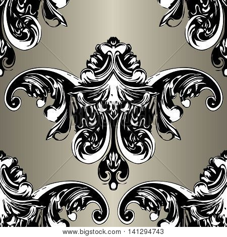 Antique luxury baroque vector seamless pattern background  illustration with volumetric black vintage medieval 3d leaves,ornaments, decorative elements in Victorian style. Elegant texture.