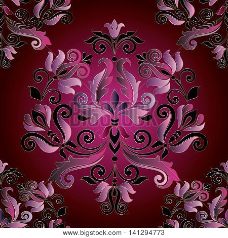 Elegant baroque vector seamless pattern background with pink black volumetric ornament with shadows and highlights on the purple background. Vintage elements for design in Victorian style