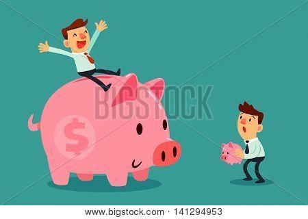 Happy businessman sit on his large piggy bank and another businessman hold his tiny piggy bank. Saving concept.