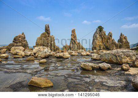 Kushimoto, Wakayama Prefecture, Japan coastline at Hashi-gui-iwa rocks.