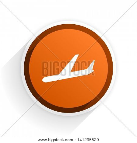 arrivals flat icon with shadow on white background, orange modern design web element