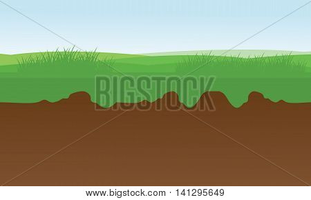 At morning fields scenery stock vector illustration