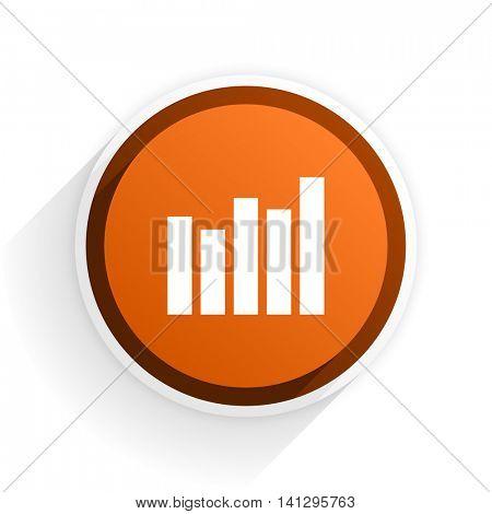 graph flat icon with shadow on white background, orange modern design web element