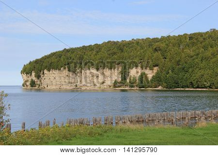 Cliffs above Lake Michigan in Upper Peninsula of Michigan