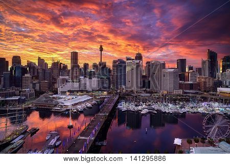 SYDNEY AUSTRALIA - Augus 8 2016 : Sunrise of Darling Harbour adjacent to the city center of Sydney and also a recreational place in Sydney central business district