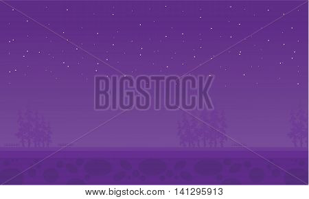At night spruce scenery of illustration collection stock