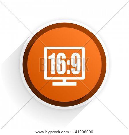 16 9 display flat icon with shadow on white background, orange modern design web element